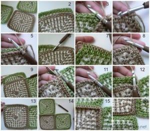 İki Renkli Keten Modeli Bebek Battaniyesi Yapılışı 15