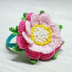 Örgü Çiçek Toka Yapılışı 8
