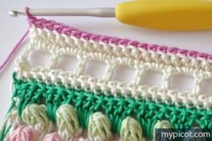 Örgü Renkli Bebek Battaniyesi Yapılışı 14