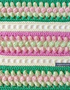 Örgü Renkli Bebek Battaniyesi Yapılışı 15