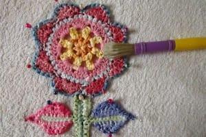 Örgü Çiçek Duvar Süsü Yapılışı 58
