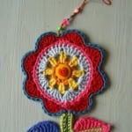 Örgü Çiçek Duvar Süsü Yapılışı 59