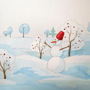 Sulu Boya İle Kış Resmi Nasıl Çizilir ? 9