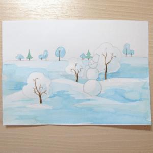 Sulu Boya İle Kış Resmi Nasıl Çizilir ? 10