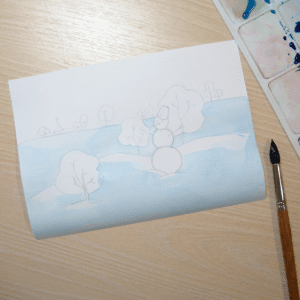 Sulu Boya İle Kış Resmi Nasıl Çizilir ? 11