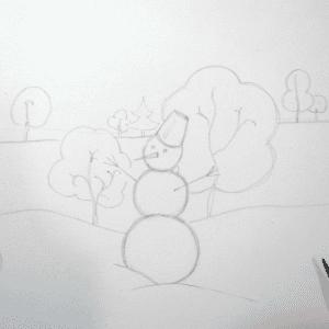 Sulu Boya İle Kış Resmi Nasıl Çizilir ? 12