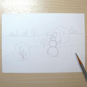 Sulu Boya İle Kış Resmi Nasıl Çizilir ? 13