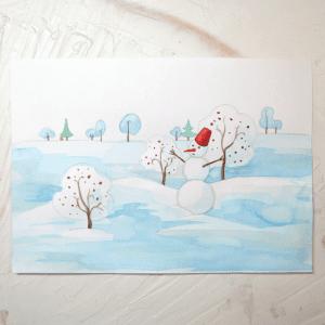 Sulu Boya İle Kış Resmi Nasıl Çizilir ? 16