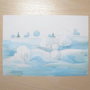 Sulu Boya İle Kış Resmi Nasıl Çizilir ? 1