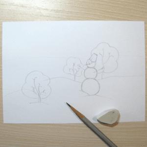 Sulu Boya İle Kış Resmi Nasıl Çizilir ? 2