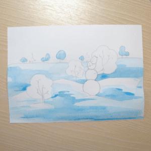 Sulu Boya İle Kış Resmi Nasıl Çizilir ? 6