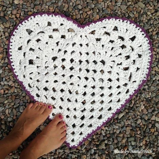 Kalp Örgü Paspas Yapılışı