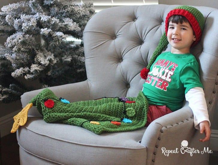 Çam Ağacı Bebek Battaniyesi Yapılışı 3