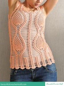 Tığ İşi Ananas Örgü Modeli Yazlık Bluz Yapımı 2