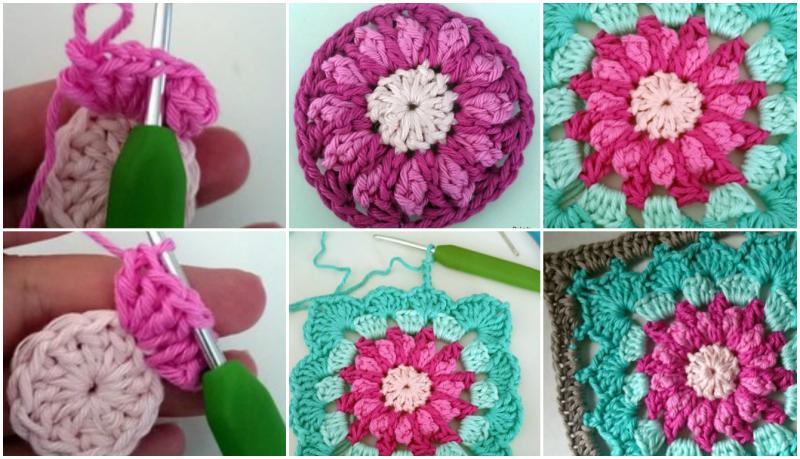Kare Motifli Çiçekli Bebek Battaniyesi Modeli Yapılışı 7