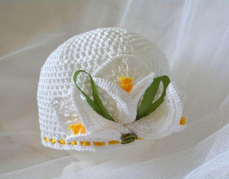 Örgü Yazlık Şapka Süsleme Çiçek Yapımı