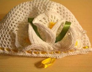 Örgü Yazlık Şapka Süsleme Çiçek Yapımı 7