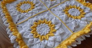 Videolu,Ayçiçeği Motifli Bebek Battaniyesi Yapılışı