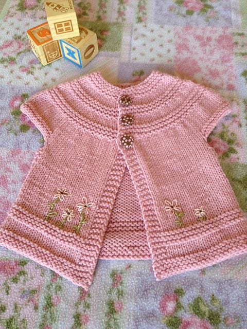 Easy Knitting Pattern For Babies Cardigan : Easy top down baby sweater pattern aztec dress