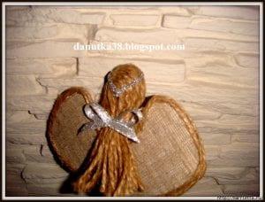Çuval Bezi ve Hasır İpten Biblo Melek Yapımı 16