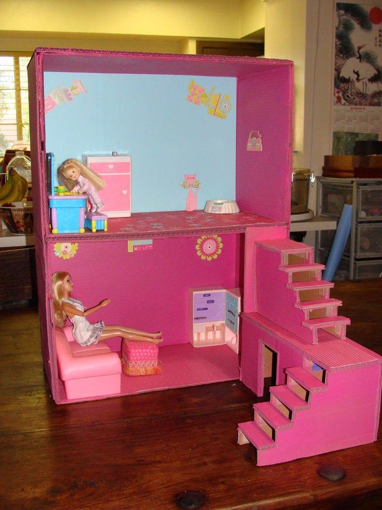 Фото кукольный домик из коробки