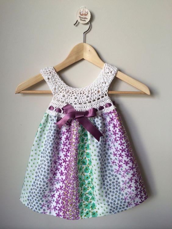 Kumaşla Örgü Kız Çocuk Elbise Modelleri ve Yapılışı 103