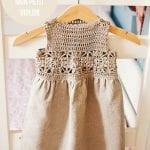 Kumaşla Örgü Kız Çocuk Elbise Modelleri ve Yapılışı 55