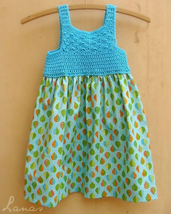 Kumaşla Örgü Kız Çocuk Elbise Modelleri ve Yapılışı 57
