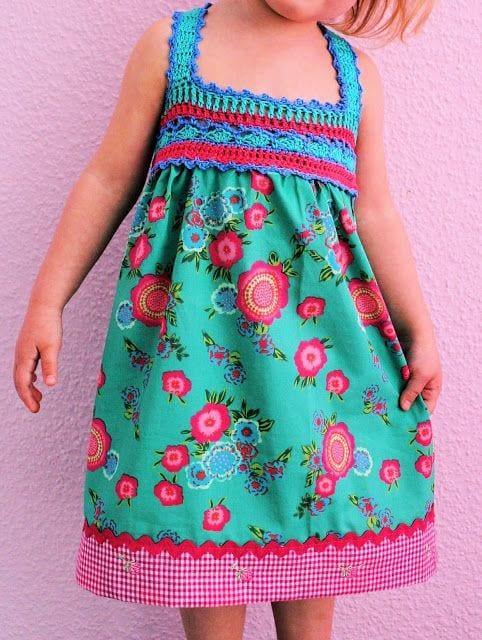 Kumaşla Örgü Kız Çocuk Elbise Modelleri ve Yapılışı 58