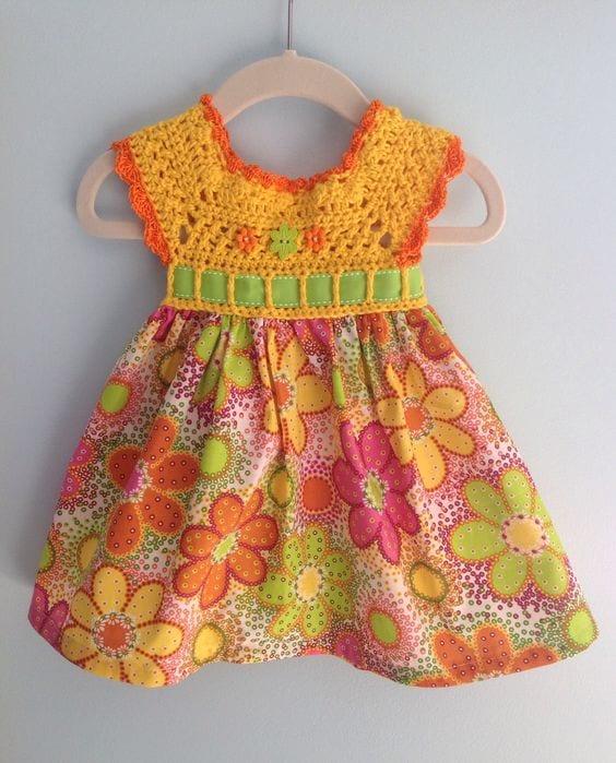 Kumaşla Örgü Kız Çocuk Elbise Modelleri ve Yapılışı 59