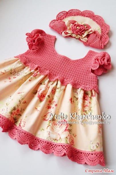 Kumaşla Örgü Kız Çocuk Elbise Modelleri ve Yapılışı 64