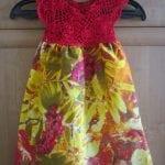 Kumaşla Örgü Kız Çocuk Elbise Modelleri ve Yapılışı 68