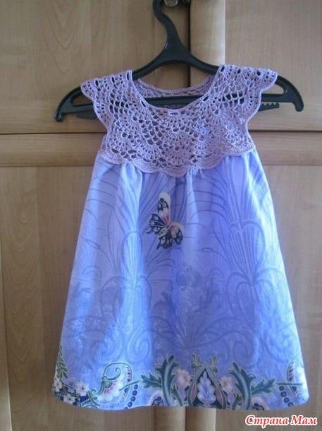 Kumaşla Örgü Kız Çocuk Elbise Modelleri ve Yapılışı 70