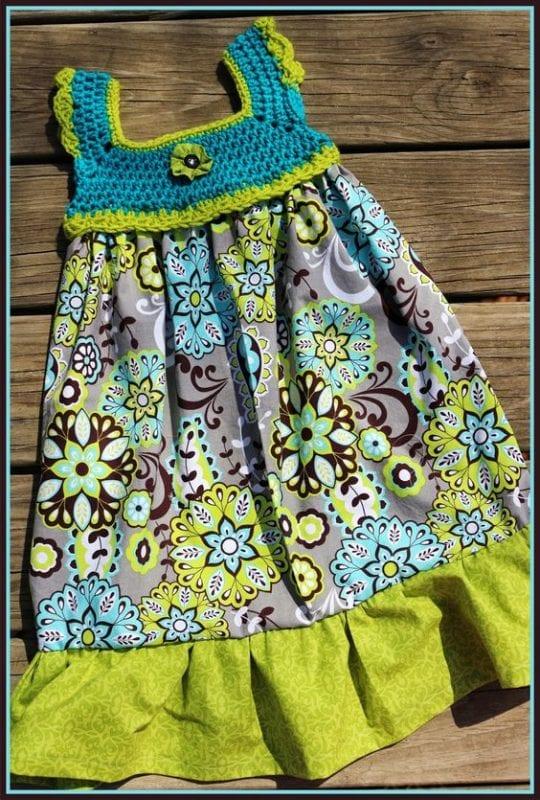 Kumaşla Örgü Kız Çocuk Elbise Modelleri ve Yapılışı 76