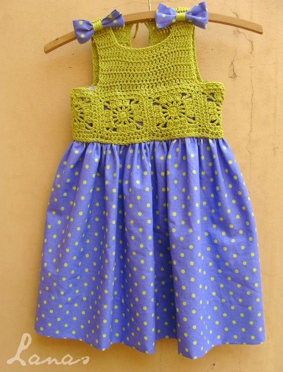 Kumaşla Örgü Kız Çocuk Elbise Modelleri ve Yapılışı 81