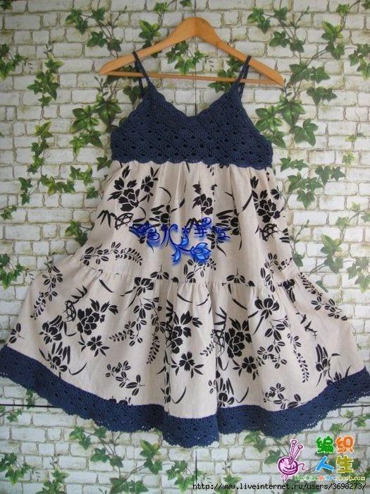 Kumaşla Örgü Kız Çocuk Elbise Modelleri ve Yapılışı 90