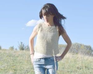 Şiş Örgü Yazlık Askılı Bluz Modeli Yapımı 6