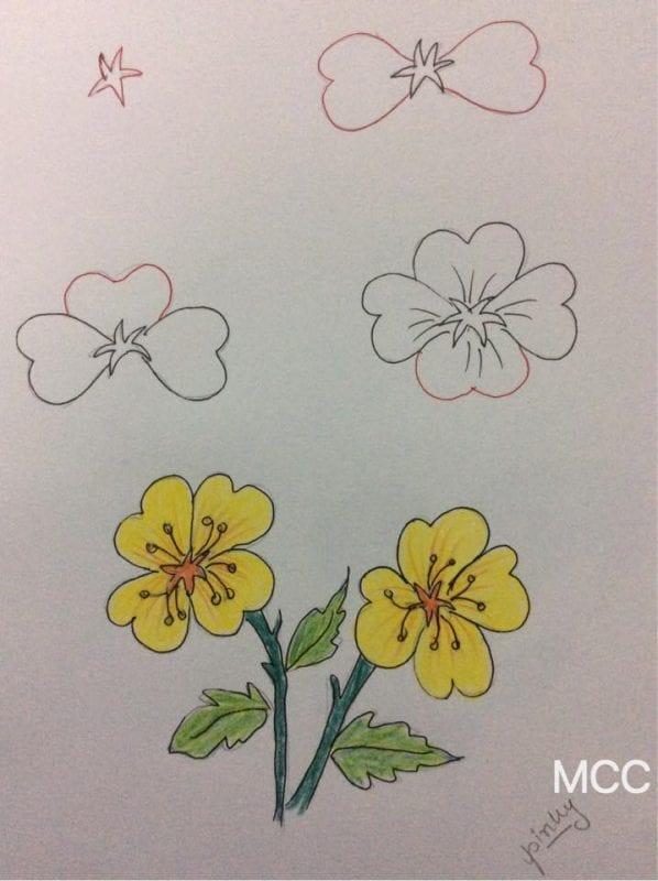 Adım Adım Kolay Çiçek Çizme 9
