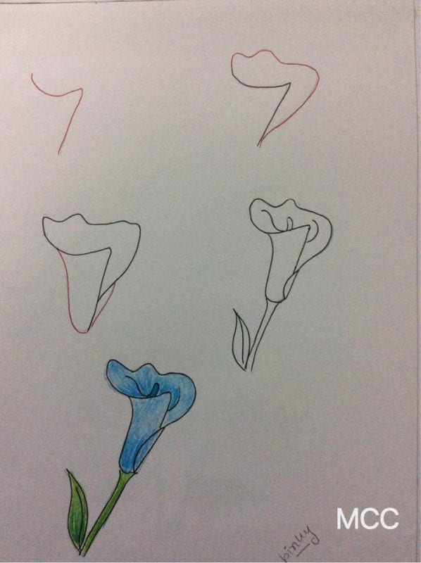 Adım Adım Kolay Çiçek Çizme 11