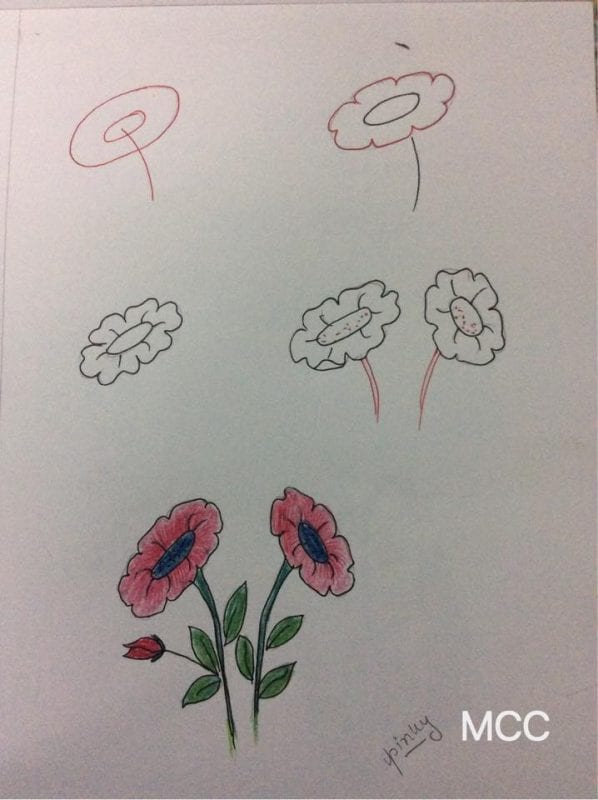 Adım Adım Kolay Çiçek Çizme 12