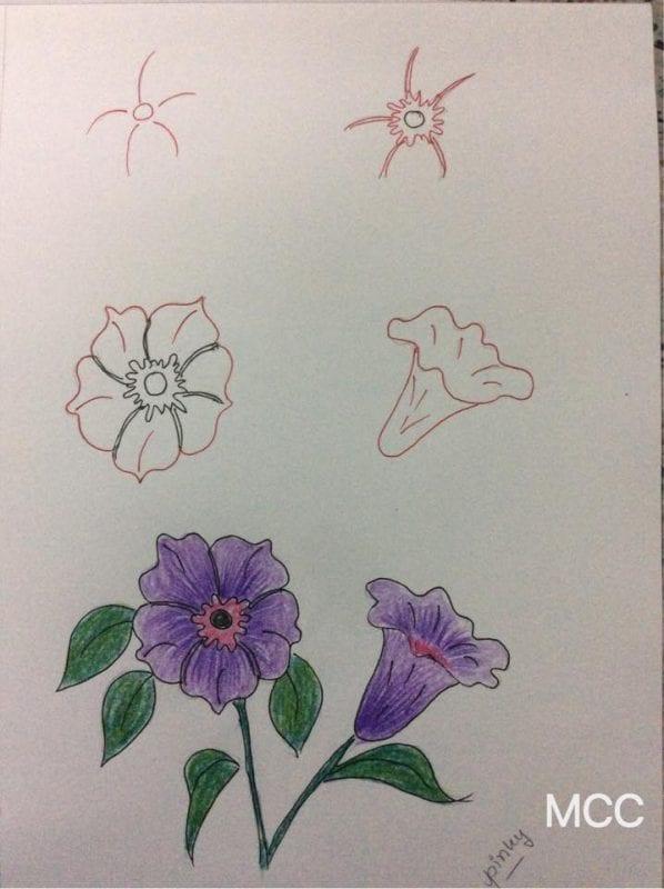 Adım Adım Kolay Çiçek Çizme 13