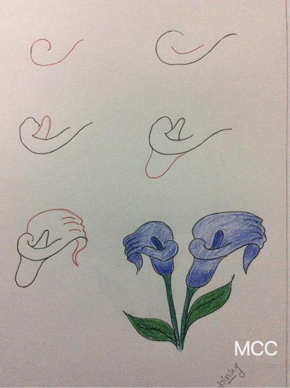 Adım Adım Kolay Çiçek Çizme 15