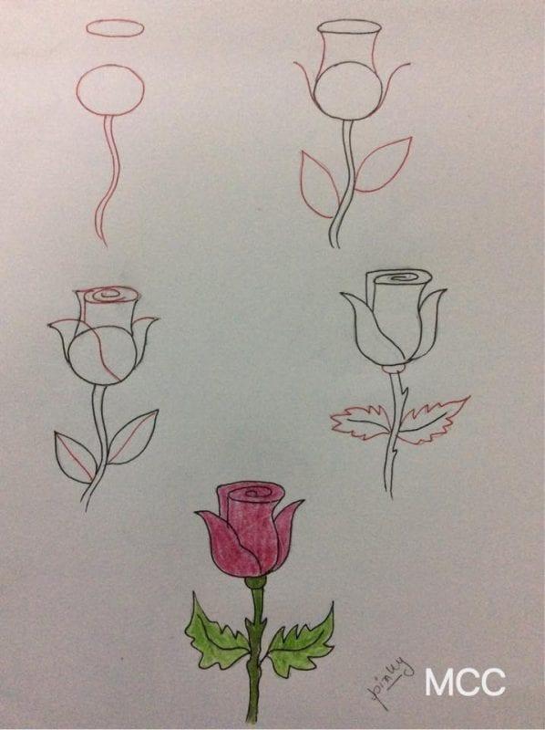 Adım Adım Kolay Çiçek Çizme 16