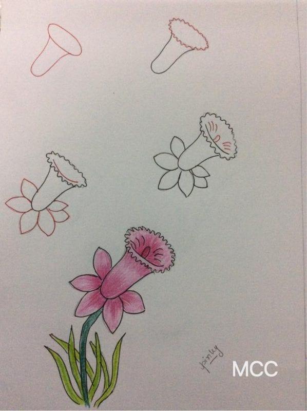 Adım Adım Kolay Çiçek Çizme 18