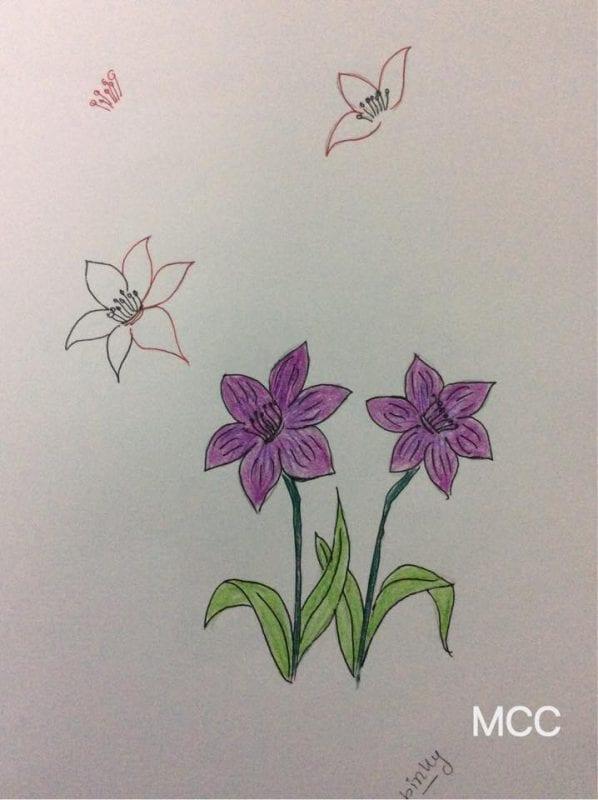Adım Adım Kolay Çiçek Çizme 3