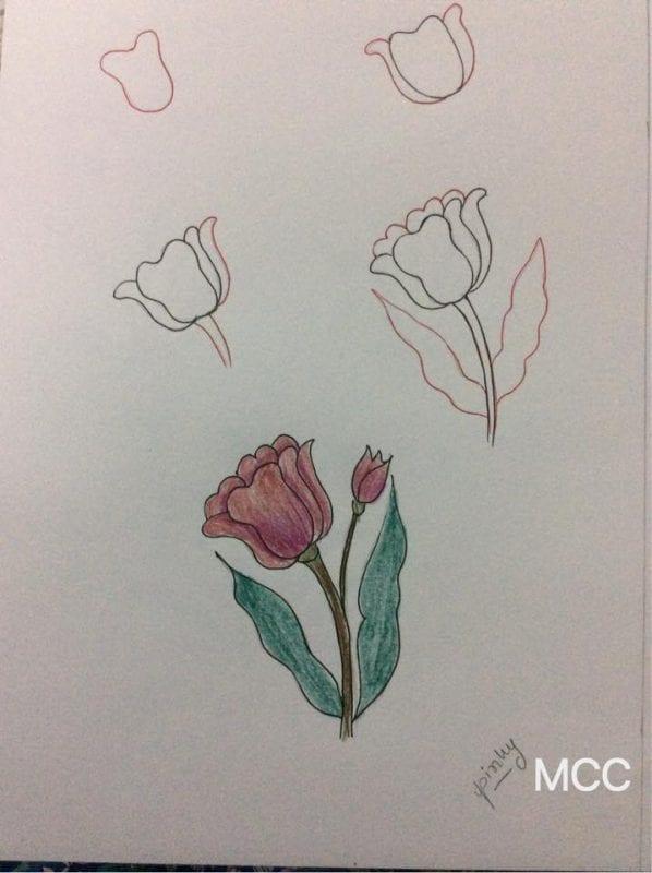 Adım Adım Kolay Çiçek Çizme 4