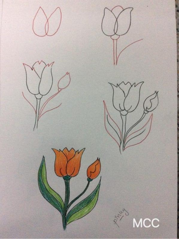 Adım Adım Kolay Çiçek Çizme 5