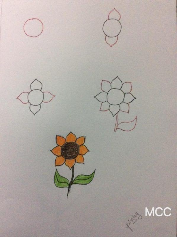 Adım Adım Kolay Çiçek Çizme 8