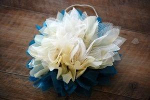 Krepon Kağıdı ile Tül Çiçek Yapımı 10