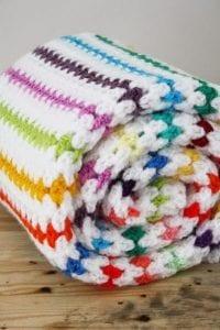 Kolay Renkli Çizgili Battaniye Yapılışı 3